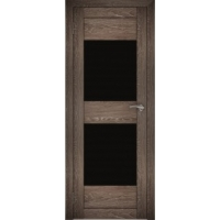 "Дверь межкомнатная ""Амати 15"" Дуб шале корица (Черное стекло)"