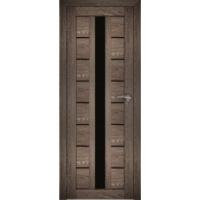 "Дверь межкомнатная ""Амати 17"" Дуб шале корица (Черное стекло)"