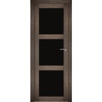 "Дверь межкомнатная ""Амати 20"" Дуб шале корица (Черное стекло)"