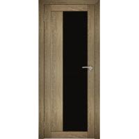 """Дверь межкомнатная """"Амати 09"""" Дуб шале натуральный (Черное стекло)"""