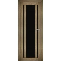 """Дверь межкомнатная """"Амати 11"""" Дуб шале натуральный (Черное стекло)"""