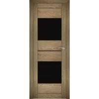 """Дверь межкомнатная """"Амати 16"""" Дуб шале натуральный (Черное стекло)"""