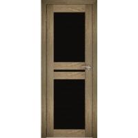 """Дверь межкомнатная """"Амати 19"""" Дуб шале натуральный (Черное стекло)"""