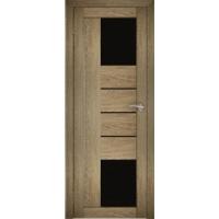 """Дверь межкомнатная """"Амати 21"""" Дуб шале натуральный (Черное стекло)"""
