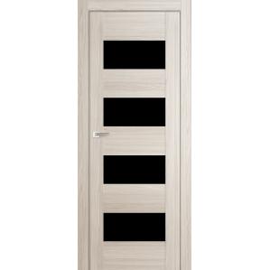 """Дверь межкомнатная """"Амати 02"""" Дуб Беленый (Черное стекло)"""