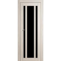 """Дверь межкомнатная """"Амати 11"""" Дуб Беленый (Черное стекло)"""