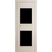"""Дверь межкомнатная """"Амати 15"""" Дуб Беленый (Черное стекло)"""