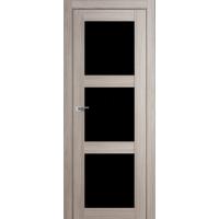 """Дверь межкомнатная """"Амати 20"""" Дуб Дымчатый (Черное стекло)"""