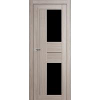 """Дверь межкомнатная """"Амати 22"""" Дуб Дымчатый (Черное стекло)"""