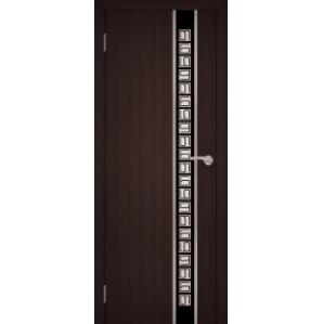 """Дверь """"Chrome 06"""" 70см венге (Черное стекло)"""