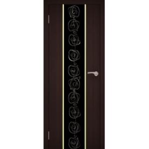 """Дверь """"GOLD 07"""" 70см венге (Черное стекло)"""