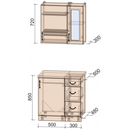 Кухня КРАФТ 0,8 (Дуб Английский/ Дуб Полярный)