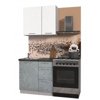 Кухня ПЛАСТИК 0,9 (Мрамор/ Белый)