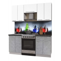 Кухня ПЛАСТИК 1,8 (Мрамор/ Белый)