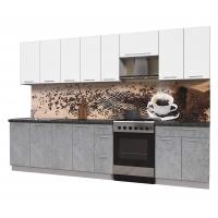 Кухня ПЛАСТИК 3,1 (Мрамор/ Белый)