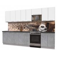 Кухня ПЛАСТИК 3,2 (Мрамор/ Белый)