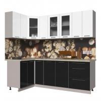 Кухня ПЛАСТИК 1,2х2,3 (Черный/ Белый)