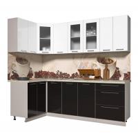Кухня ПЛАСТИК 1,2х2,4 (Черный/ Белый)