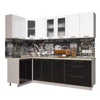 Кухня ПЛАСТИК 1,2х2,5 (Черный/ Белый)