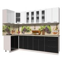 Кухня ПЛАСТИК 1,2х2,7 (Черный/ Белый)