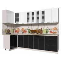 Кухня ПЛАСТИК 1,2х2,8 (Черный/ Белый)