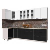 Кухня ПЛАСТИК 1,2х2,9 (Черный/ Белый)