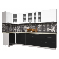 Кухня ПЛАСТИК 1,2х3,2 (Черный/ Белый)