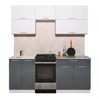 Готовая кухня ГЛОСС 50-19 (Белый/ Асфальт)