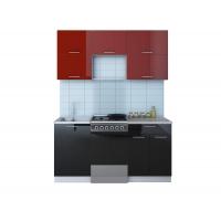 Готовая кухня ГЛОСС 50-16 (Бордовый/ Черный)