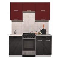 Готовая кухня ГЛОСС 50-17 (Бордовый/ Черный)