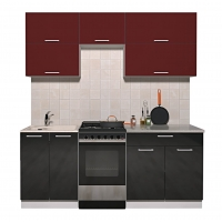 Готовая кухня ГЛОСС 50-19 (Бордовый/ Черный)