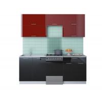 Готовая кухня ГЛОСС 50-20 (Бордовый/ Черный)