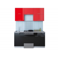 Готовая кухня ГЛОСС 50-16 (Красный/ Черный)