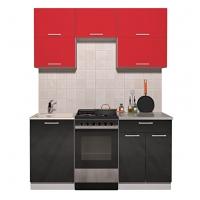 Готовая кухня ГЛОСС 50-17 (Красный/ Черный)