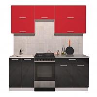 Готовая кухня ГЛОСС 50-19 (Красный/ Черный)