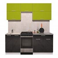 Готовая кухня ГЛОСС 50-19 (Яблоко/ Черный)