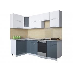 Готовая кухня Мила ГЛОСС 50-12х24 (Белый/ Асфальт)