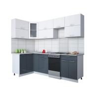 Готовая кухня Мила ГЛОСС 50-12х25 (Белый/ Асфальт)