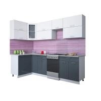 Готовая кухня Мила ГЛОСС 50-12х26 (Белый/ Асфальт)