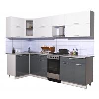 Готовая кухня Мила ГЛОСС 50-12х27 (Белый/ Асфальт)
