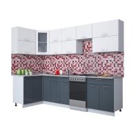 Готовая кухня Мила ГЛОСС 50-12х28 (Белый/ Асфальт)