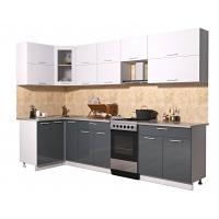 Готовая кухня Мила ГЛОСС 50-12х29 (Белый/ Асфальт)