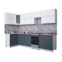 Готовая кухня Мила ГЛОСС 50-12х30 (Белый/ Асфальт)