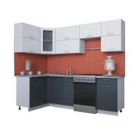 Готовая кухня Мила ГЛОСС 60-12х25 (Белый/ Асфальт)