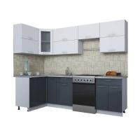 Готовая кухня Мила ГЛОСС 60-12х26 (Белый/ Асфальт)