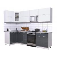 Готовая кухня Мила ГЛОСС 60-12х27 (Белый/ Асфальт)