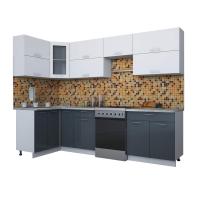 Готовая кухня Мила ГЛОСС 60-12х28 (Белый/ Асфальт)