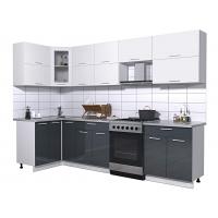 Готовая кухня Мила ГЛОСС 60-12х29 (Белый/ Асфальт)