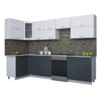 Готовая кухня Мила ГЛОСС 60-12х30 (Белый/ Асфальт)