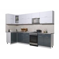 Готовая кухня Мила ГЛОСС 60-12х31 (Белый/ Асфальт)